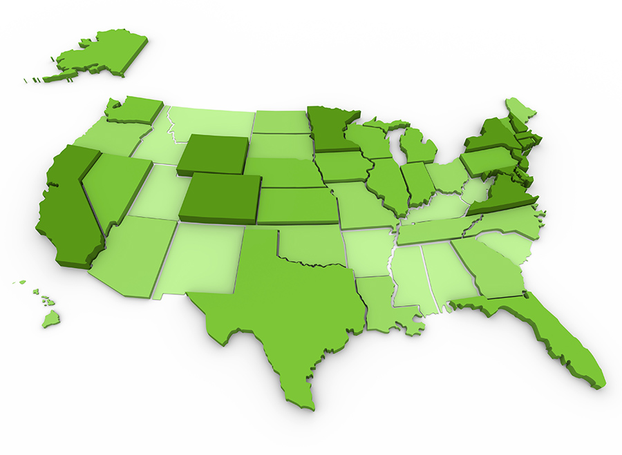 Green usa map