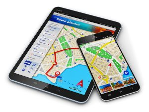 Digital tablet and smartphone with GPS maps