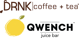 DRNK coffee + tea, QWENCH juice bar logo